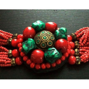 vintage real coral turquoise bead chunky bracelet